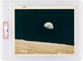 """Explorers:Space Exploration, Apollo 8 """"Earthrise"""" Vintage NASA """"Red Number"""" Color Photo, Image AS8-14-2383, PSA Authenticated and Encapsulated with Certifi..."""