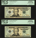 Error Notes:Inking Errors, Insufficient Inking of Right Serial Number Error Fr. 2095-A $20 2009 Federal Reserve Notes. Two Consecutive Examples. PCGS Abo... (Total: 2 notes)