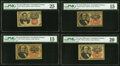 Fractional Currency:Fifth Issue, Fr. 1266 10¢ Fifth Issue PMG Very Fine 25;. Fr. 1308 25¢ Fifth Issue Three Examples PMG Graded Choice Fine 15 (2); Very Fi... (Total: 4 notes)