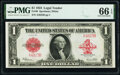 Large Size:Legal Tender Notes, Low Serial Number A4823B Fr. 40 $1 1923 Legal Tender PMG G...