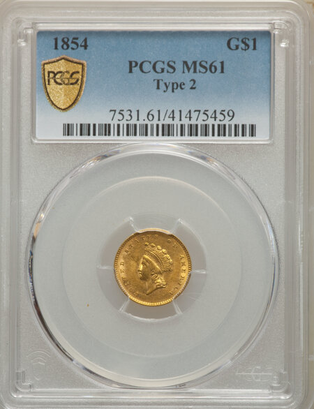 1854 G$1 Type Two PCGS Secure 61 PCGS
