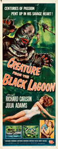 """Movie Posters:Horror, Creature from the Black Lagoon (Universal International, 1954). Folded, Very Fine-. Insert (14"""" X 36"""") Reynold Brown ..."""