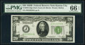 Small Size:Federal Reserve Notes, Fr. 2052-J $20 1928B Dark Green Seal Federal Reserve Note. PMG Gem Uncirculated 66 EPQ.. ...