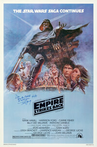 """The Empire Strikes Back (20th Century Fox, 1980). Rolled, Very Fine/Near Mint. Signed One Sheet (27"""" X 41"""") St..."""