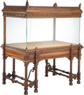 Furniture, An Impressive Architectural Carved Mahogany and Glass Show Case. 50-1/4 x 42-1/2 x 27-1/4 inches (127.6 x 108.0 x 69.2 cm). ...
