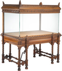 An Impressive Architectural Carved Mahogany and Glass Show Case 50-1/4 x 42-1/2 x 27-1/4 inches (127.6 x 108.0 x 69.2 cm...