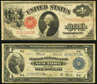 Fr. 39 $1 1917 Legal Tender Fine; Fr. 713 $1 1918 Federal Reserve Bank Note Fine. ... (Total: 2 notes)