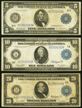 Large Size:Federal Reserve Notes, Fr. 874 $5 1914 Federal Reserve Note Fine;. Fr. 907b $10 1914 Federal Reserve Note Fine;. Fr. 983a $20 1914 Federal Re... (Total: 3 notes)