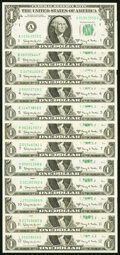 Small Size:Federal Reserve Notes, Complete District Set Fr. 1901-A-L $1 1963A Federal Reserv...