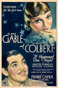"It Happened One Night (Columbia, 1934). Fine+ on Paper. One Sheet (26.75"" X 40.25"") Style A"