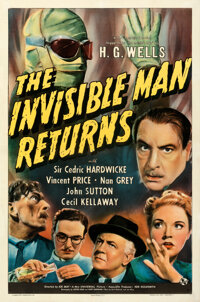 """The Invisible Man Returns (Universal, 1940). Very Fine on Linen. One Sheet (27"""" X 41"""")"""