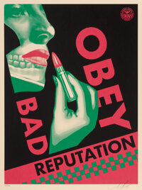 Shepard Fairey (b. 1970) Bad Reputation (Black), 2019 Screenprint in colors on speckled cream paper 24 x 18 inches (6