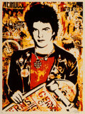 Prints & Multiples, Shepard Fairey (b. 1970). Darby, 2004. Screenprint in colors on speckled cream paper. 24 x 18 inches (61 x 45.7 cm) (she...