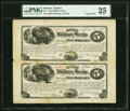 Obsoletes By State:Kansas, Topeka, KS- Union Military Scrip $5-$5 June 1, 1867 Whitfield 422-422 Uncut Sheet (Uncut Pair) PMG Very Fine 25.. ...