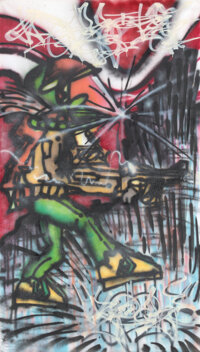 Kool Koor (b. 1963) Untitled, c. 1984 Mixed media on unstretched canvas 105 x 60 inches (266.7 x