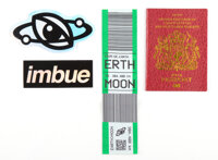 Imbue (20th Century) Space Pack (four works), 2019 Notebook, woven luggage tag, and two stickers 4-3/4 x 3-1/2 inches