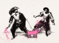 Prints & Multiples, Mr. Brainwash (b. 1966). Watch Out (Pink), 2019. Screenprint in colors with hand finished spray paint and stencil on wov...