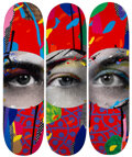 Collectible, Paul Insect (b. 1971). I See 1, 2, & 3 (set of 3), 2020. Screenprint in colors on skate decks. 32 x 8 inches (81.3 x 20....
