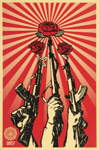 Shepard Fairey (b. 1970) Guns and Roses, 2007 Offset lithograph in colors on speckled cream paper