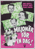 """Movie Posters:Comedy, Double Dynamite (RKO, 1952). Rolled, Very Fine. Swedish One Sheet (27.5"""" X 39.5""""). Comedy.. ..."""
