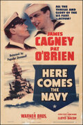 """Movie Posters:Comedy, Here Comes the Navy (Warner Bros., R-1938). Very Good+ on Linen. One Sheet (26.75"""" X 40""""). Comedy.. ..."""