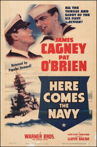 """Here Comes the Navy (Warner Bros., R-1938). Very Good+ on Linen. One Sheet (26.75"""" X 40""""). Comedy"""