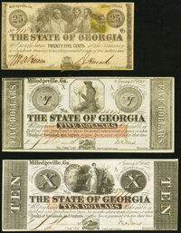Milledgeville, GA- State of Georgia 25¢; $5; $10 1862-63 Cr. 15; Cr. 5; Cr. 4 Extremely Fine; Extremely Fine-About...