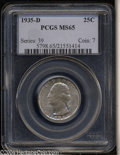 Washington Quarters: , 1935-D 25C MS65 PCGS. Well struck with a rich layer of ...
