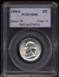 Washington Quarters: , 1936-S 25C MS66 PCGS. Well struck with attractive ...
