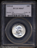 Washington Quarters: , 1939-D 25C MS67 PCGS. Well struck and radiantly lustrous, ...