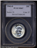 Washington Quarters: , 1942-D 25C MS67 PCGS. Bright and untoned with a sharp ...
