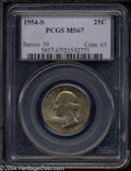 Washington Quarters: , 1954-S 25C MS67 PCGS. The obverse of this S-mint ...