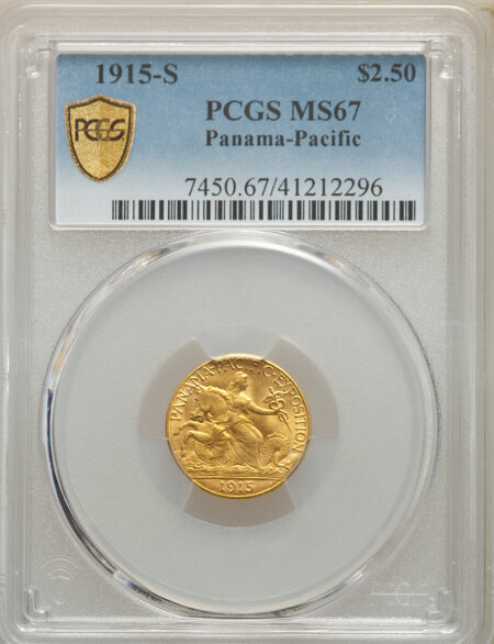1915-S $2 1/2 Panama-Pacific Quarter Eagle PCGS Secure 67 PCGS