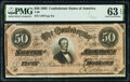 Confederate Notes:1864 Issues, T66 $50 1864 PF-8 Cr. 499 PMG Choice Uncirculated 63 EPQ.. ...