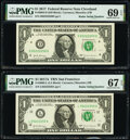 Matching Radar Serial Number 05222250 Fr. 3004-D $1 2017 Federal Reserve Note. PMG Superb Gem Unc 69 EPQ and Fr. 3005-L...