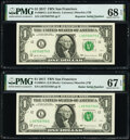 Small Size:Federal Reserve Notes, Radar Serial Number 05755750 and Repeater Serial Number 05750575 Fr. 3004-L $1 2017 Federal Reserve Notes. PMG Graded Superb G... (Total: 2 notes)