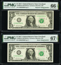 Small Size:Federal Reserve Notes, Radar Serial Number 09022090 and Repeater Serial Number 09020902 Fr. 3004-D $1 2017 Federal Reserve Notes. PMG Graded Superb G... (Total: 2 notes)