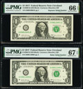 Small Size:Federal Reserve Notes, Radar Serial Number 09011090 and Repeater Serial Number 09010901 Fr. 3004-D $1 2017 Federal Reserve Notes. PMG Graded Superb G... (Total: 2 notes)