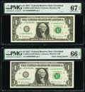 Small Size:Federal Reserve Notes, Fancy Serial Number 08999908 and Radar Serial Number 08999980 Fr. 3004-D $1 2017 Federal Reserve Notes. PMG Graded Superb Gem ... (Total: 2 notes)