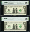 Radar Serial Number 08844880 and Repeater Serial Number 08840884 Fr. 3004-D $1 2017 Federal Reserve Notes. PMG Graded Su...