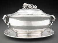 A Georg Jensen No. 337 Silver Covered Bowl and Underplate Designed by Georg Jense
