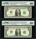 Small Size:Federal Reserve Notes, Radar Serial Number 00488400 and Repeater Serial Number 00480048 Fr. 3004-D $1 2017 Federal Reserve Notes. PMG Graded Superb G... (Total: 2 notes)