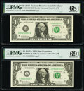 Small Size:Federal Reserve Notes, Matching Fancy Serial Number 05222222 Fr. 3004-D $1 2017 Federal Reserve Note. PMG Superb Gem Unc 68 EPQ and Fr. 3005-L $1 201... (Total: 2 notes)