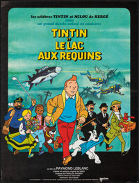 """Tintin and the Lake of Sharks (Parafrance, 1972). Folded, Very Fine. French Petite (14.75"""" X 19.5""""). Animation..."""