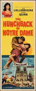 """Movie Posters:Horror, The Hunchback of Notre Dame (Allied Artists, 1957). Folded, Fine/Very Fine. Insert (14"""" X 36""""). Horror.. ..."""