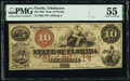 Obsoletes By State:Florida, Tallahassee, FL- State of Florida $10 Mar. 1, 1864 Cr. 32 PMG About Uncirculated 55.. ...