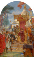 Paintings, Ernest Normand (British, 1857-1923). King John granting Magna Carta. Oil over pencil on canvas. 63 x 39 inches (160.0 x ...