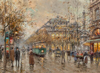 Antoine Blanchard (French, 1910-1988) Le Châtelet Oil on canvas 13 x 18 inches (33.0 x 45.7 cm)