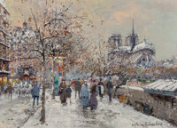 Antoine Blanchard (French, 1910-1988) Notre Dame Oil on canvas 13 x 18 inches (33.0 x 45.7 cm)