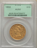 1859 $10 AU50 PCGS. Rich honey-gold and orange hues adorn the surfaces of this conditionally scarce 1859 eagle. The prot...